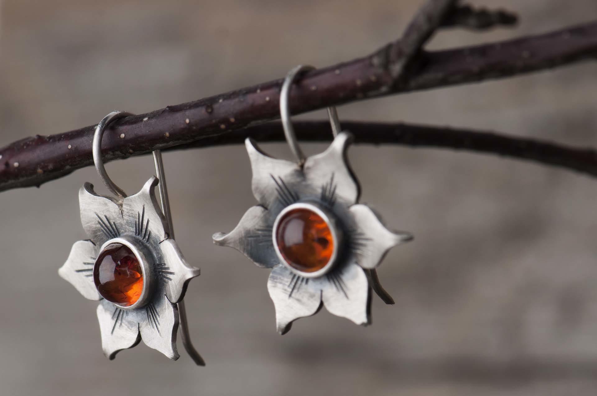 Kolczyki kwiaty zesrebra