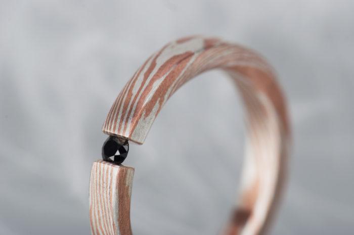 pierścionek mokume gane z diamentem