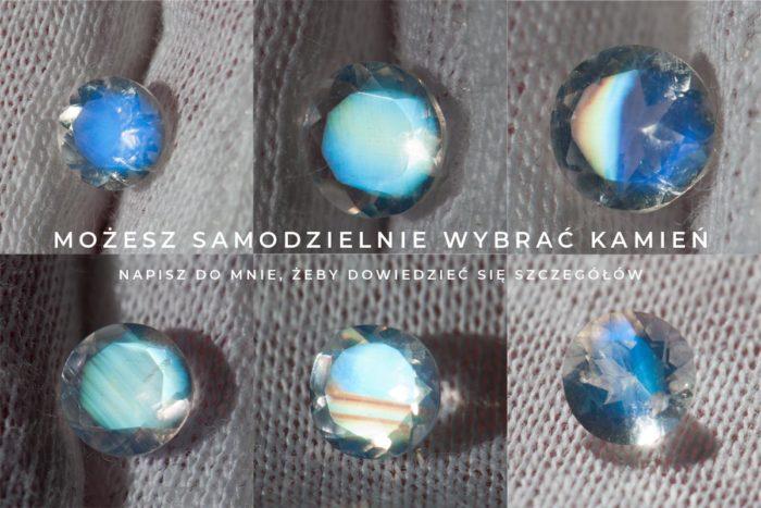 kamienie księżycowe fasetowane w różnych kolorach