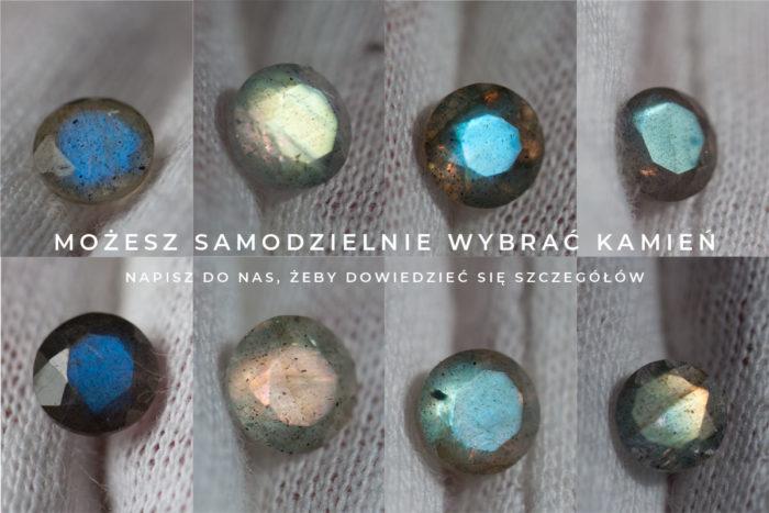fasetowane labradoryty w różnych kolorach