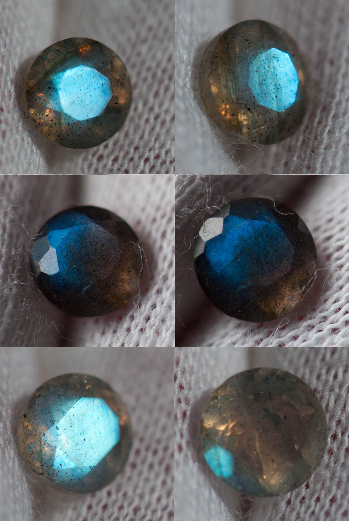 niebieskie fasetowane labradoryty