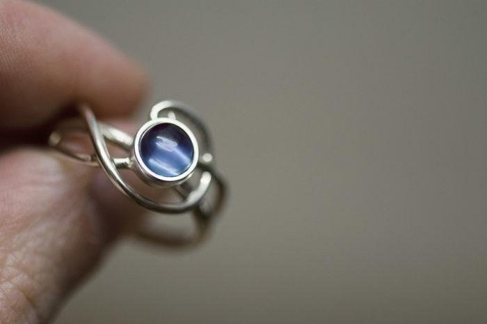pierścionek ze srebra z aleksandrytem