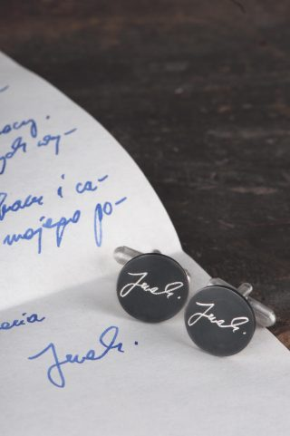 spersonalizowane spinki do mankietów z pismem